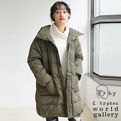E hyphen 保暖中空鋪棉口袋大衣外套