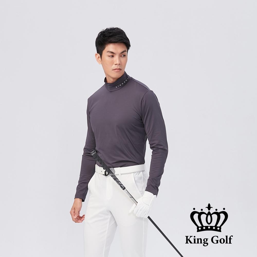 【KING GOLF】男款素面小立領長袖內搭衣-中厚款-灰色