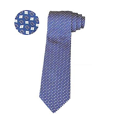 HERMES愛馬仕7 GEOMETRIK經典緹花LOGO幾何圖案設計蠶絲領帶(藍)