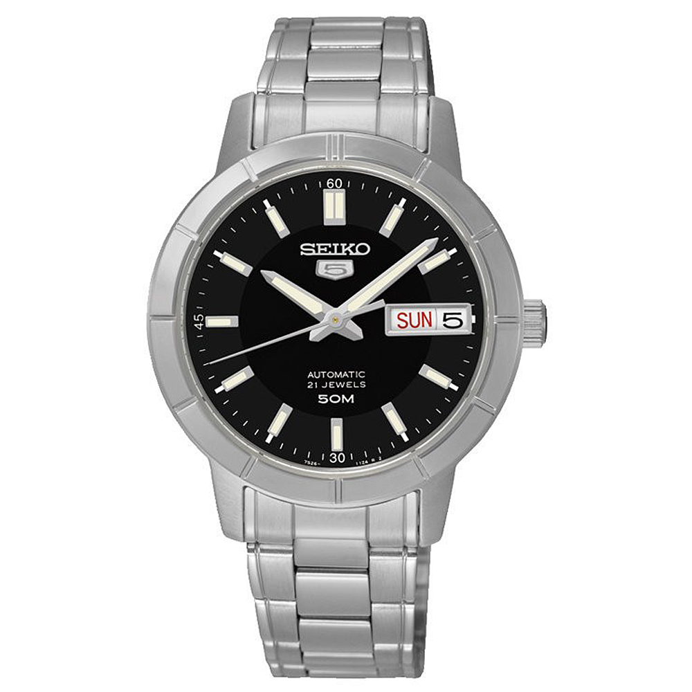 SEIKO精工  氣質淑女夜光5號自動上鍊機械腕錶(SNK895K1)-黑/34mm