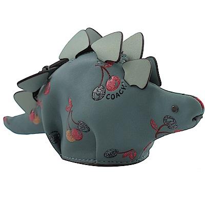 COACH 立體造型牛皮零錢包(櫻桃藍/恐龍)