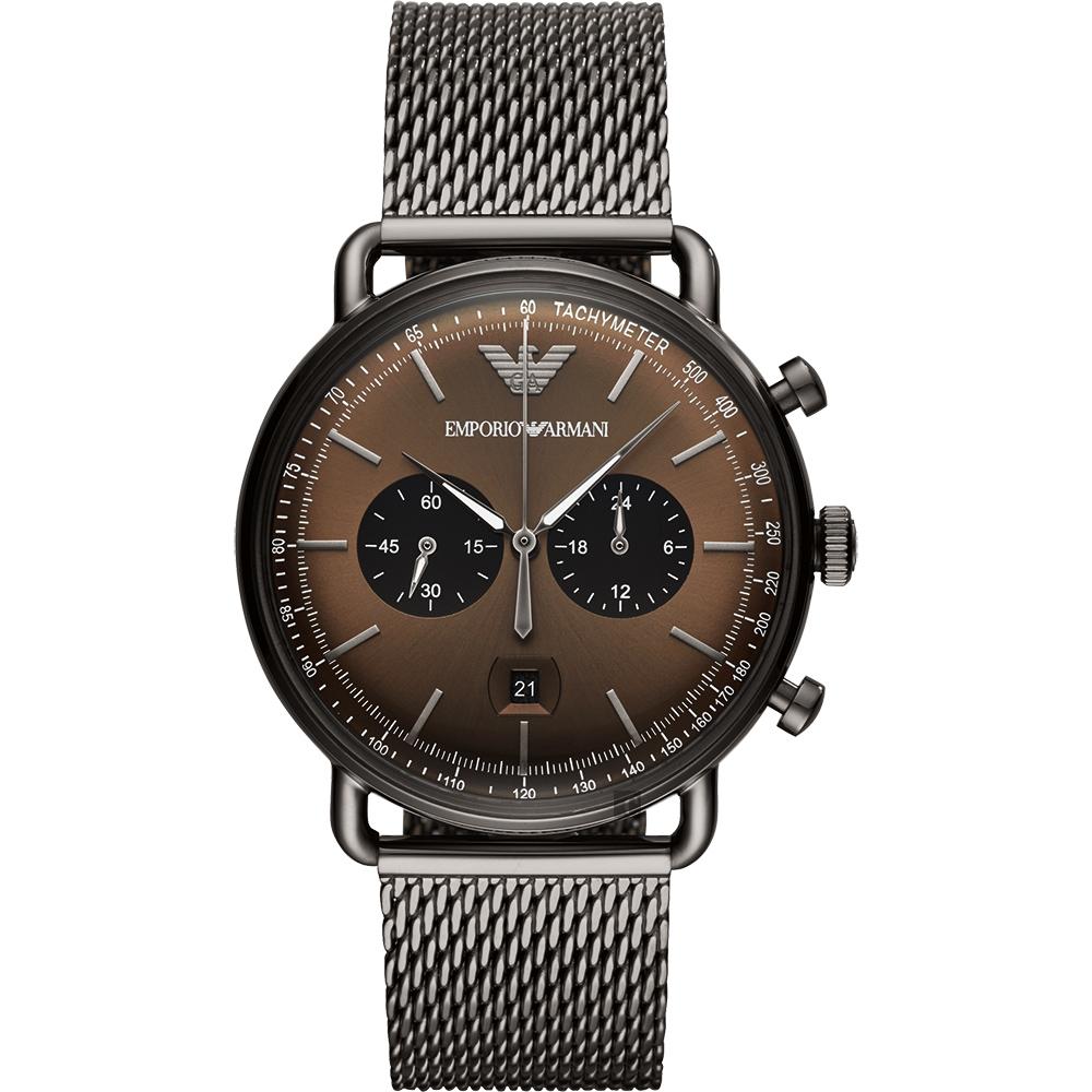 Emporio Armani Dress 亞曼尼計時手錶-咖啡x鐵灰42mm