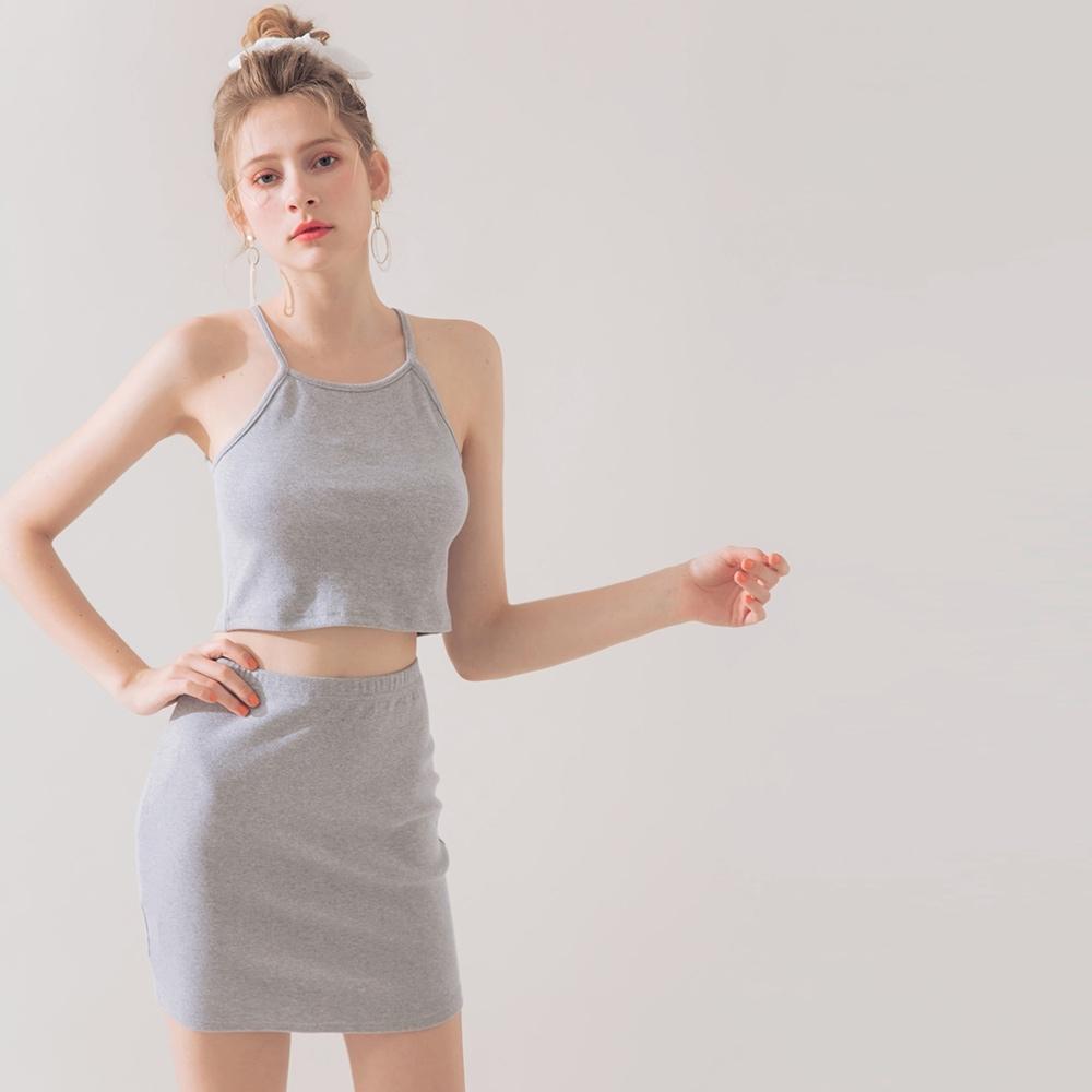 AIR SPACE 羅紋削肩短裙套裝(灰)
