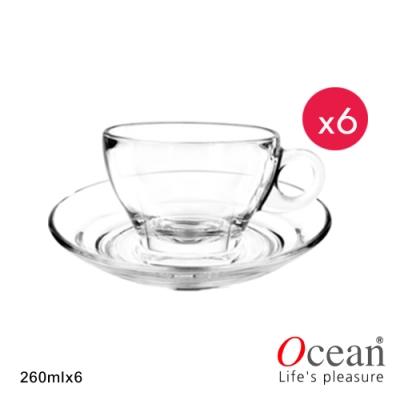 OCEAN 可啡美式拿鐵咖啡杯附盤 260ML-6入組