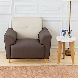 時尚屋 布萊茲單人座雙色實木骨架貓抓皮沙發 (共2色)