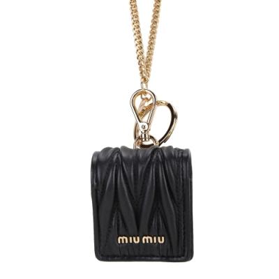 [時髦科技皮件搶先購] miu miu AirPod 項鍊羊皮耳機套(黑色)