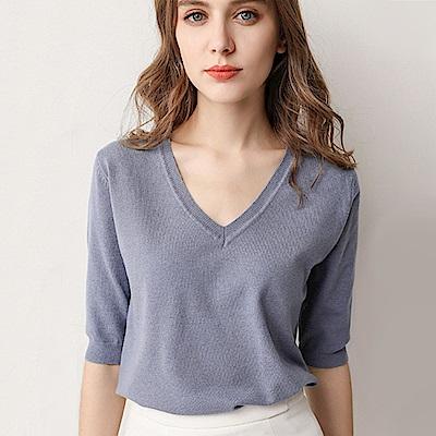 初色  V領五分袖短款針織衫-共9色-(M-2XL可選)