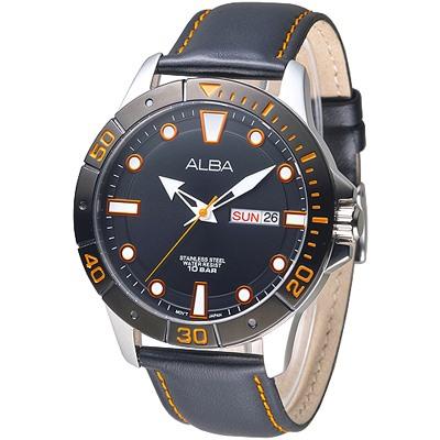 ALBA 都會風時尚運動造型男錶-IP黑錶框(AT2045X1)/40mm