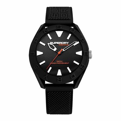Superdry極度乾燥  街頭潮流運動矽膠腕錶-黑(SYG243B)-41mm