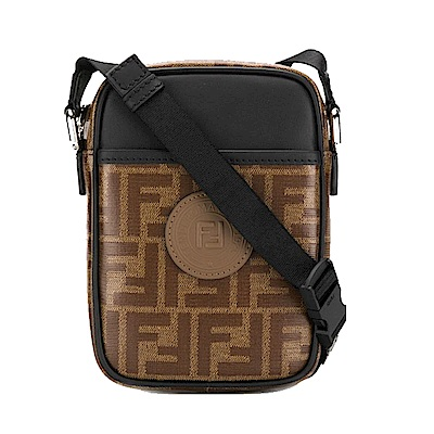 FENDI LOGO帆布包身牛皮飾邊斜背包(黑色)
