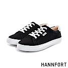 HANNFORT CAMPUS厚底帆布休閒鞋-女-松露黑