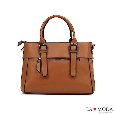 La Moda 本季熱銷多Way質感面料大容量肩背斜背醫生包(棕)