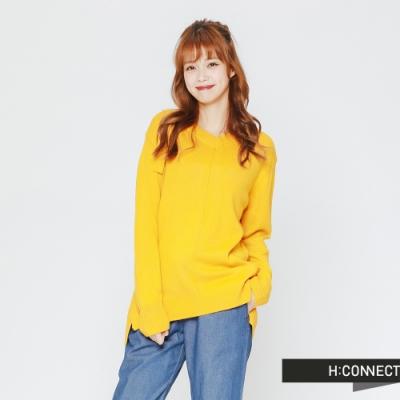 H:CONNECT 韓國品牌 女裝-後領口造型針織上衣-黃(快)