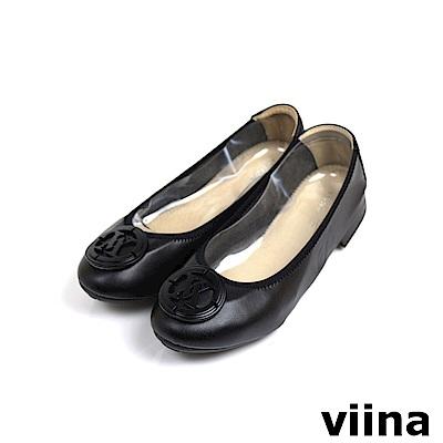 viina超纖烤漆釦摺疊鞋MIT - 黑
