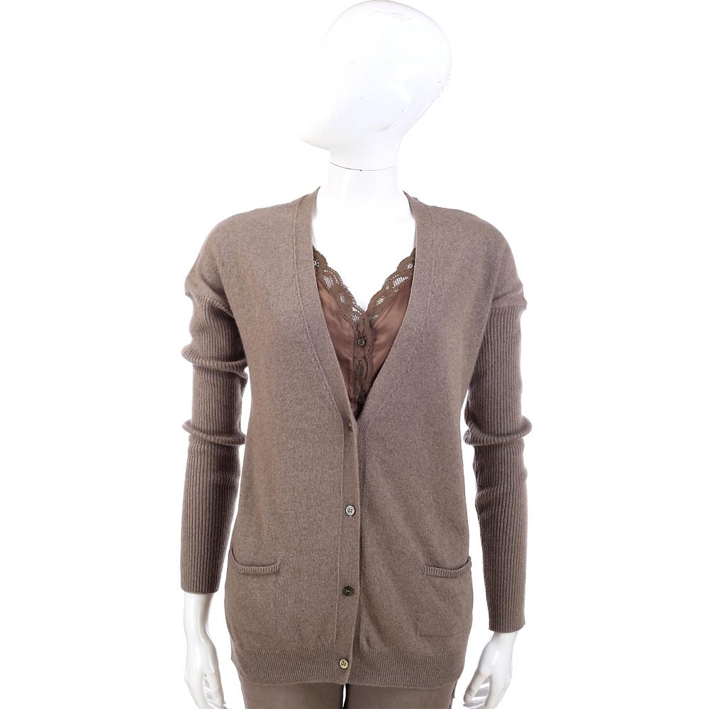 SCERVINO 蕾絲緞拼接咖棕色假兩件針織羊毛衫