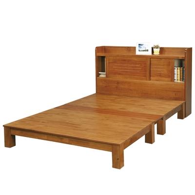 文創集蒙杜6尺雙人加大實木床台(床頭箱+床底+不含床墊)-182x218.3x106cm免組