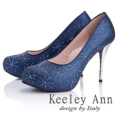Keeley Ann 優雅迷人~水鑽唯美質感真皮軟墊高跟鞋(藍色)