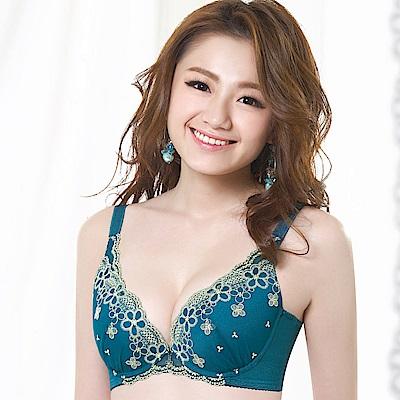 莎薇 深V魅影 粉水2UP B-D罩杯內衣(松葉綠)