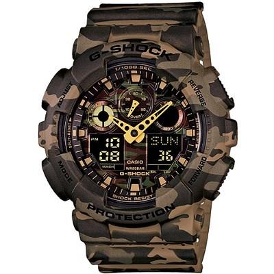 G-SHOCK 街頭時尚迷彩圖樣腕錶-迷彩卡其(GA-100CM-5A)/55mm