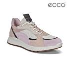 ECCO ST.1 W 舒適動能撞色皮革運動休閒鞋 女-玫瑰粉/裸/白