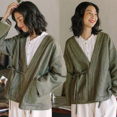 肌理亞麻漢服短外套中國風復古-設計所在