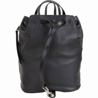 Rebecca Minkoff Blythe 單側拉鍊設計皮革束口後背包(黑色)
