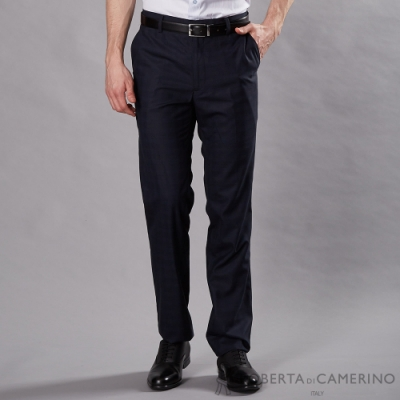ROBERTA諾貝達 合身版 商務 平面格紋西裝褲 深藍
