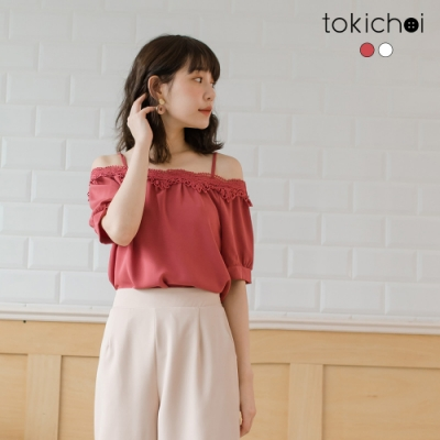 東京著衣 唯美浪漫拼接蕾絲細肩帶上衣-S.M.L(共二色)