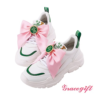 Grace gift-美少女戰士變身器緞帶厚底老爹鞋 綠