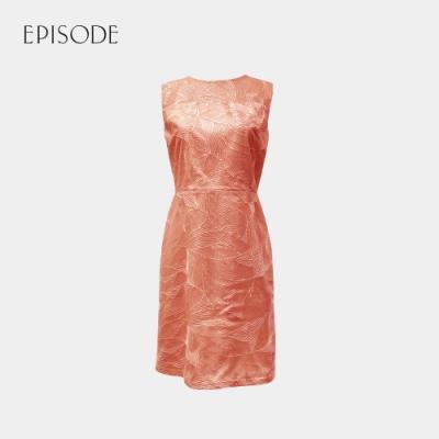 EPISODE - 珊瑚色立體車花網布精緻無袖洋裝