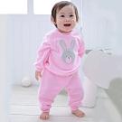 【Deux Filles有機棉】棉絨兒童休閒運動褲-粉紅色