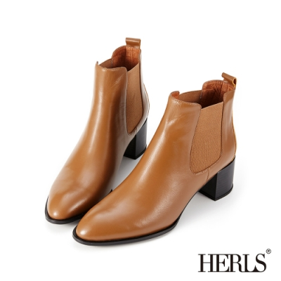 HERLS短靴-全真皮素面尖頭鬆緊切爾西粗跟短靴-棕色
