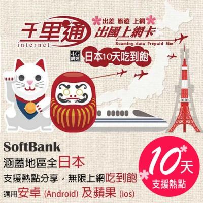 日本上網卡 日本網卡 日本SIM卡 10日無限上網吃到飽不降速