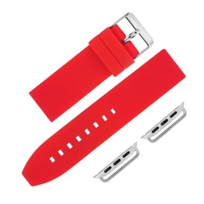 Apple Watch 蘋果手錶替用錶帶 不鏽鋼扣頭 矽膠錶帶-紅色