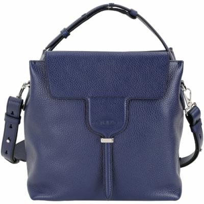 TOD'S Joy Bag T釦翻蓋牛皮手提肩背包(深藍色)
