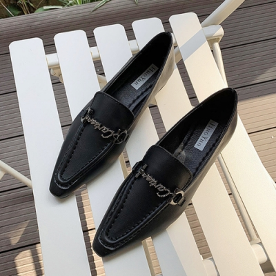 KEITH-WILL時尚鞋館 英倫風復古金釦時尚樂福鞋-黑