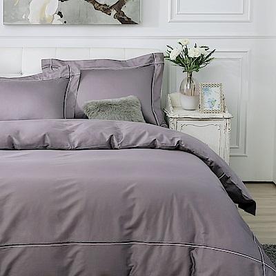 鴻宇 100%精梳棉 300織 純色刺繡 雙人特大床包枕套三件組