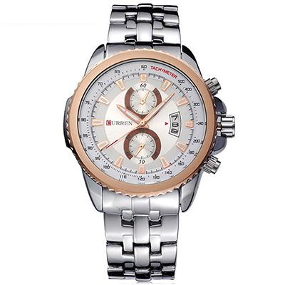 CURREN 卡瑞恩8082-個性MAN感仿二眼日曆手錶 (4色任選)