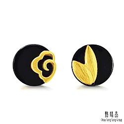 點睛品 吉祥系列 祥雲木蘭 黑玉髓黃金耳環