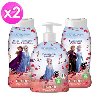 義大利 Disney FronzenII 泡泡浴 / 潔膚露 / 雙效洗髮精 250ml (白麝香)-2入組