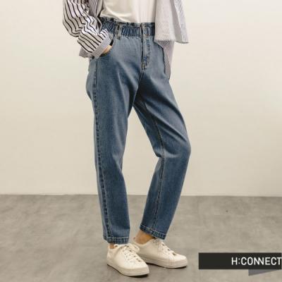 H:CONNECT 韓國品牌 女裝 -紙袋褲頭高腰Baggy牛仔褲-藍色