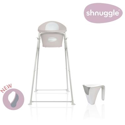 【英國Shnuggle】月亮澡盆三件組-月亮澡盆(奶茶杏)+專用架U2+小小水瓢
