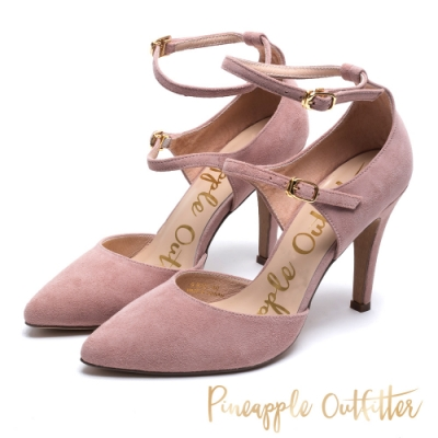 Pineapple Outfitter 約會首選 雙繫帶皮革高跟鞋-絨粉