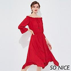 SO NICE優雅綁結花邊一字領洋裝