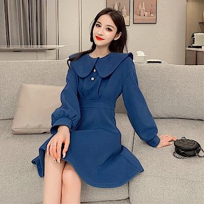 DABI 韓國風大翻領氣質毛呢修身長袖洋裝