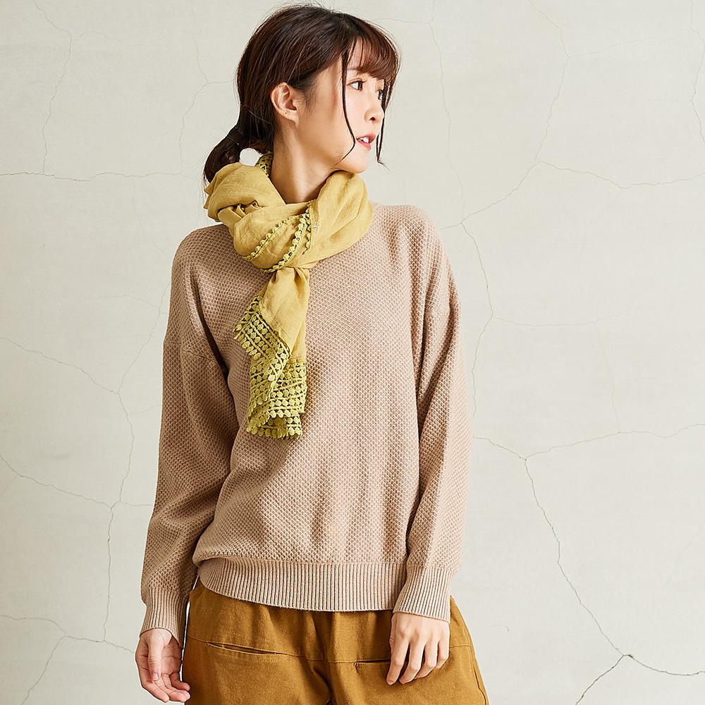 慢 生活織面紋理純色針織衫-卡