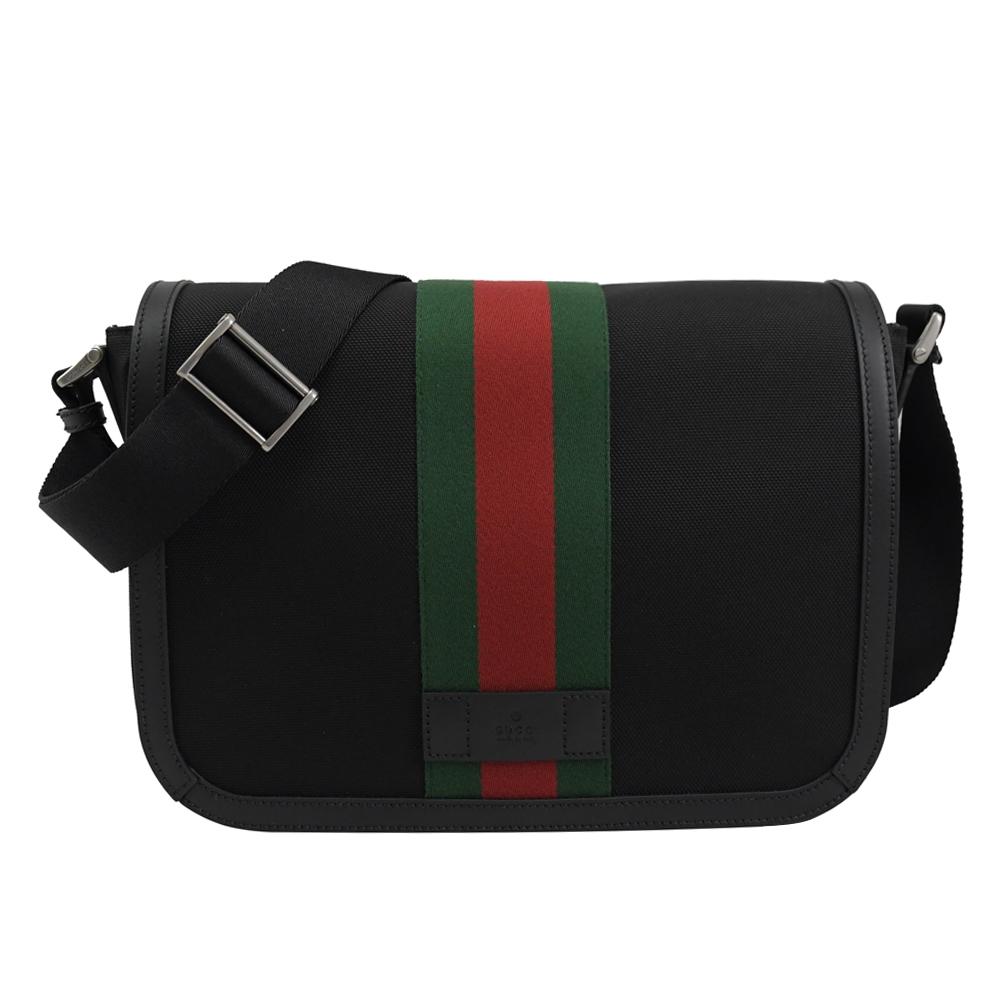 GUCCI 烙印LOGO綠紅綠織帶帆布翻蓋斜背包(大/黑)