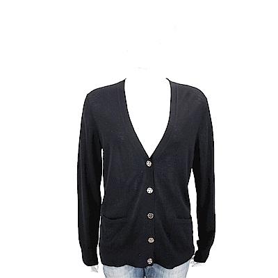 TORY BURCH Madeline 雙T金釦黑色開襟羊毛衫