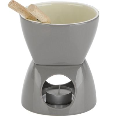 《KELA》陶製巧克力起司鍋組(灰)