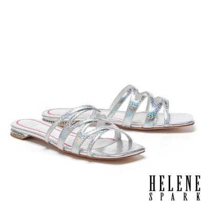 拖鞋 HELENE SPARK 簡約時尚交錯細帶全羊皮平底拖鞋-銀